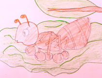 Red ant with crayon drawings. Stock Photography