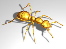 Red ant. Ant in gold, 3d Stock Image