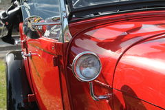 Red antique american car detail Royalty Free Stock Images