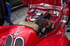 Red antique BMW 326 Fazer - open car  engine Royalty Free Stock Image