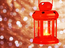 Red antique Christmas lamp Royalty Free Stock Photos