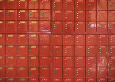 Red antique post office boxes Stock Photography