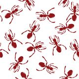 Red ants. Pattern with red ants over white Royalty Free Stock Photo