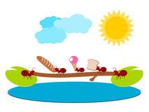 Red ants and brigde pick food illustration Stock Photography