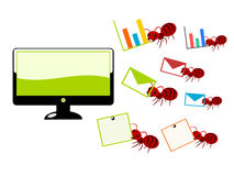 Red ants and computer illustration vector illustration