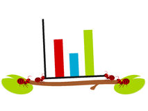 Red ants graph illustration vector illustration