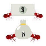 Red ants pick money illustration Stock Photos