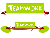 Red ants teamwork illustration Stock Photos