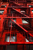 Red Apartment Building. Close up of a Red Apartment Building in New York Stock Images