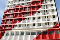 Red Apartment Building Stock Image