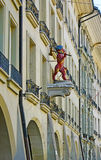 The red ape in Berne. The old Ape statue of the Stonemasons and Bricklayer Guilds on the facade of building in Kramgasse, Berne, Switzerland stock images