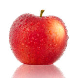 Red apple. With drop of water isolated on white background stock photo