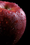 Red apple. With water drops on black background Royalty Free Stock Photo