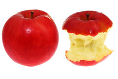 Red Apple. Before and after bitten red isolated fresh apple stock image