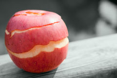 Red apple. A red peeled apple out of doors Stock Photo