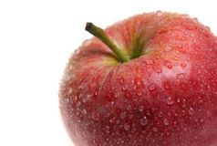 Red Apple. Close-up of Red Gala apple with dew drops. Very short DOF, focus on near droplets Stock Photo