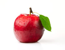 Red Apple. With Green Leaf on White Background Stock Photography