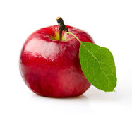 Red Apple. With Green Leaf on White Background Stock Photos