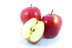Red Apple. Three Apples on white background Stock Photo