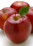 Red apple. Fresh red apple with green leaf Royalty Free Stock Image