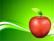 Red Apple on Abstract Green Background Stock Image