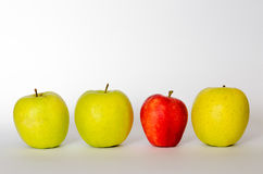 Red apple alone with yellow apples Royalty Free Stock Images