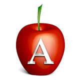 Red apple with alphabet A. Illustration isolated on white Stock Images