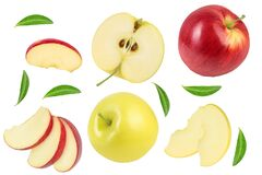 Free Red Apple And Yellow With Slices Isolated On White Background. Top View. Flat Lay. Set Or Collection Stock Photos - 186117513