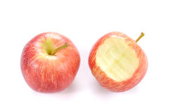 Red apple Apple with  bite on white background. Royalty Free Stock Photo
