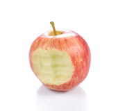 Red apple Apple with  bite on white background. Royalty Free Stock Images
