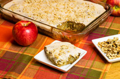 Red apple with apple cake and plate Stock Photography