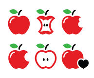 Red Apple, apple core, bitten, half  icons Stock Photography