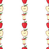 Red apple, apple core, half an apple Royalty Free Stock Photo