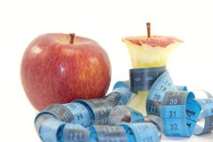 Red apple and apple core Royalty Free Stock Image