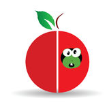 Red apple art illustration with cute worm Royalty Free Stock Images