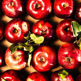 Red Apple Background.  Pile of Red Apples with green  leaves in Stock Photo