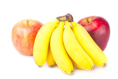 Red apple and bananas isolated on white Stock Images