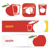 Red apple banners and icons Royalty Free Stock Photos