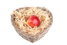 Red apple in the basket Stock Image