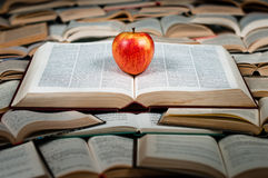 Red apple on big book. Red and delicious apple on big heap of books Royalty Free Stock Photo