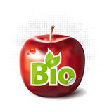 Red apple with bio label Royalty Free Stock Photo