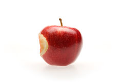 Red apple with bite. On white Stock Photos