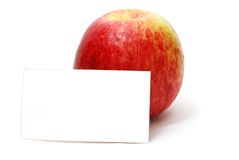 Red Apple with Blank Card Royalty Free Stock Photos