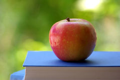 A Red Apple On A Book. Of blue color Royalty Free Stock Image
