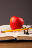 Red apple and book Stock Photo