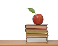 Red apple and books Royalty Free Stock Photo