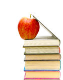Red apple and books Stock Photos