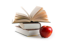 Red apple and books (with clipping path) Royalty Free Stock Photo