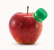 Red apple with bottle neck Stock Photo