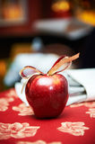 Red apple with bow Royalty Free Stock Photos